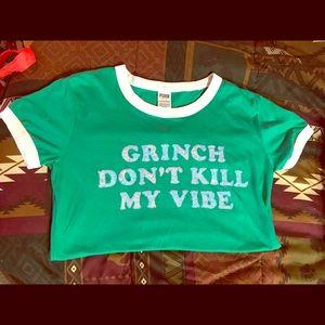 """VICTORIA'S SECRET PINK """"GRINCH"""" TEE  Medium"""